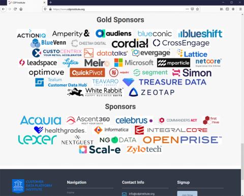 CDP Instituteのサイトに掲載されているスポンサー企業ロゴ(出所/CDP Institute)