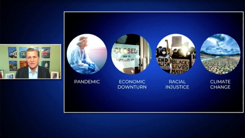 P&Gの講演はチーフ・ブランド・オフィサーのマーク・プリチャード氏が登場。パンデミック・経済不況など4つの課題が広がっていると説明