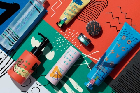 アンド・コスメ(大阪市)が販売するメンズコスメブランド「BOTCHAN」。パッケージデザインはグラフィックデザイナー/アートディレクターの飯高健人氏が担当