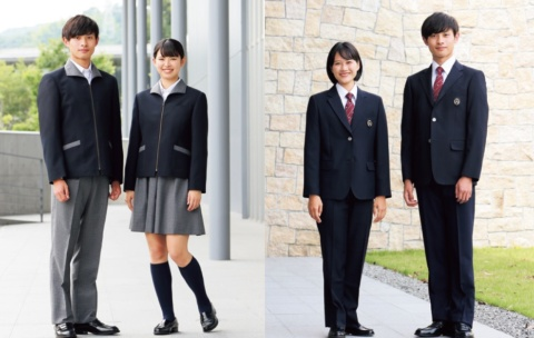 トンボが提案している「ジェンダーレス制服」の一例。通常のブレザーやスカートに加え、ジェンダーレスな制服も選択できるようにした。左は、下が通常のスラックスとスカートだが、上は新開発のブルゾン型ジャケット。男女で異なるボタンの掛け合わせがないことで性差を感じないようにしている。右は、上は同じブレザーで、下は男子生徒は一般の男子用スラックスだが、女子生徒は新しい女子用スラックスを着用。女子用でありながら男子用に見えるようにデザインした