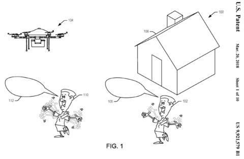 Amazon Technologiesは、ドローンでの荷物配送に関する特許を取得している(米国特許商標庁のサイトより)