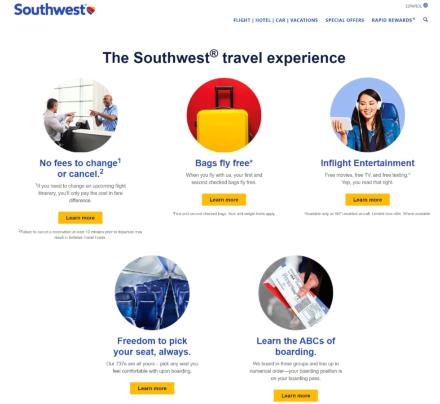 米サウスウエスト航空は戦略が明確なので、サービスの基準や社員の行動も明確になる(https://www.southwest.com/)