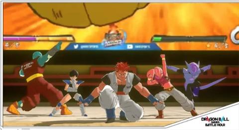 「ドラゴンボールゲームスバトルアワー」の「オンラインアリーナ」。8種族のキャラクターから自分のアバターを選ぶ。感情を表す「エモート」機能などを利用して、選手を応援したり、ユーザー同士交流したりする。エモートにはギニュー特戦隊のスペシャルファイティングポーズも用意した