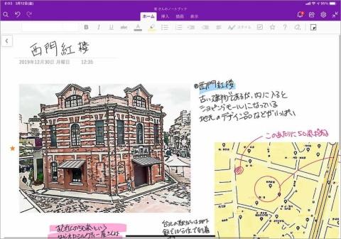 リアルなノートと同様に、任意の場所に画像やウェブページなどを配置できるOneNote。iPadを使えば、手書き入力も簡単だ(詳細は記事3ページ目)