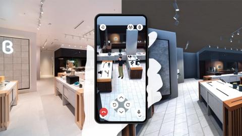 スマートフォンから専用アプリでアクセスすると、バーチャル店舗ではアバター画像を、リアル店舗では移動ロボットを用い、どちらにも行き来できる。バーチャル店舗で友人同士の会話が可能
