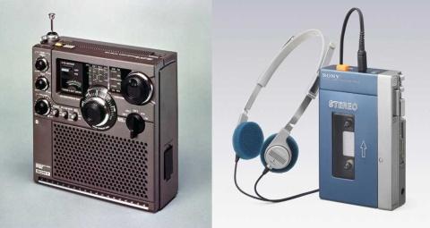 """ラジオやウォークマンなど、日本のエレキの歴史をつくってきたソニーだが、いまや売上高の約5割を映画や音楽、ゲーム事業が占める。ソニーの今の強さとは。左写真は、ソニーのラジオ人気をけん引した""""スカイセンサー""""シリーズの高性能機「ICF-5900」、右写真は初代""""ウォークマン""""「TPS-L2」"""