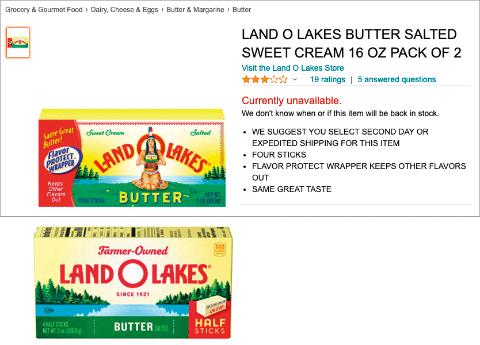 商品パッケージは、多様性を考慮して変更されるものも多い。アメリカインディアン女性を配したバターもパッケージを変えた(出所/https://www.amazon.com/)
