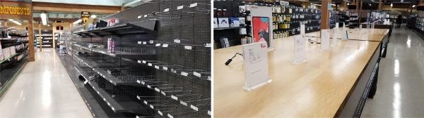 フライズの店舗内。ケーブルなどの棚も欠品が目立ち(左)、アップル製品は撤去されていた(撮影/シリコンバレー支局)