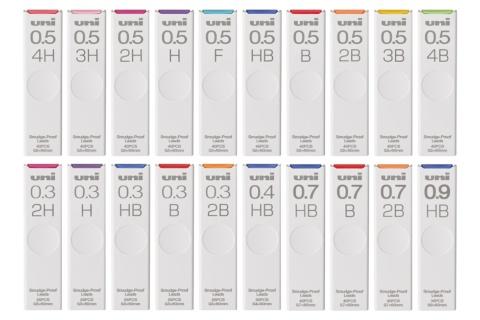 三菱鉛筆のシャープ替え芯「uni」。0.3ミリメートルから0.9ミリの5つの芯径で4Hから4Bの最大10硬度、全20種類(写真提供/三菱鉛筆)