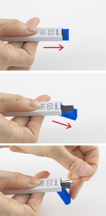ケースを上下にスライドさせると、芯と一緒に出てくる本体部分が斜め後ろに大きく開くように設計。そのため、ケースを逆さまにせず、広い開口部からスムーズに芯を取り出すことができる