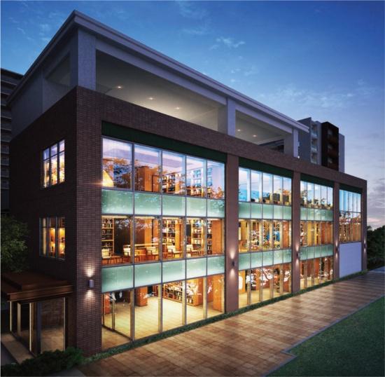 メイツ深川住吉の共用棟イメージ。大きなガラス窓を採用し、図書室がある2階と3階は吹き抜けになっている(画像提供:TSUTAYA)