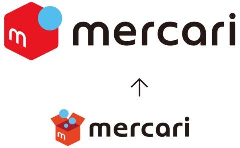 メルカリの新ロゴ(上)と旧ロゴ(下)