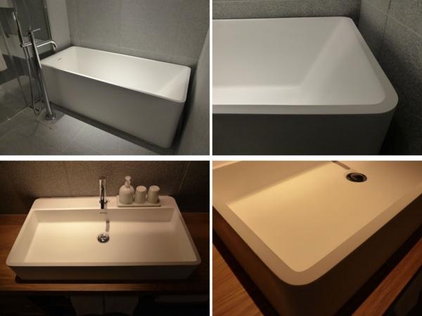 MUJI HOTEL用にUDSが開発したバスタブ(上)とシンク(下)。素材はマットな質感の人工大理石で、平面と角Rが印象的ないかにも無印良品らしいデザイン。商品化の準備を進めている