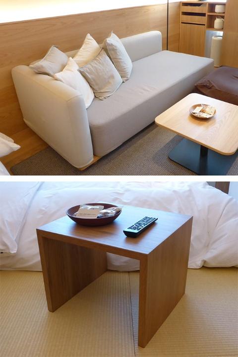 UDSがMUJI HOTEL用に開発したベッドとしても使用できるソファとサイドテーブル