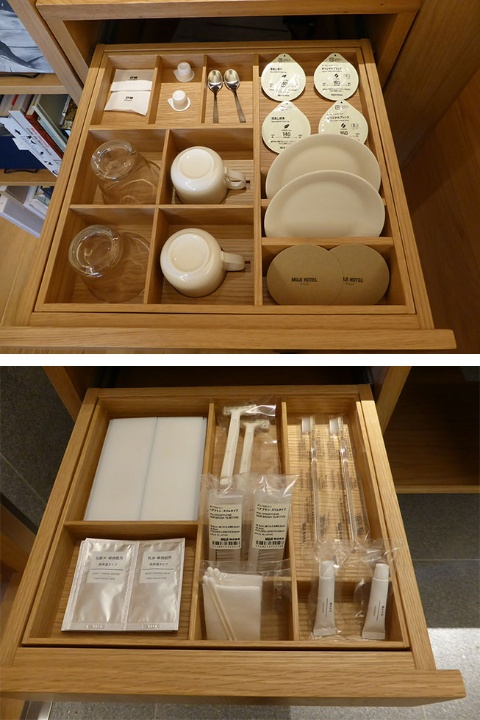 カップやグラスやアメニティーなどの小物類は引き出しの中に仕切りをつけて、きれいに収納できるようにしている