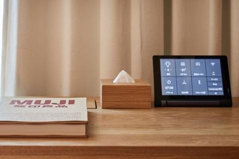 エアコンなどを操作するためのタブレットのインターフェース。シンプルなアイコンをUDSと日本デザインセンターが共同で開発した(写真提供/良品計画)
