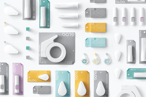 コクヨの「GLOO」。のりや接着剤、テープカッターなどの「貼る」機能に関連する商品群を集めたブランド。もともとは、同社が長年販売していたスティックのり「プリット」の販売権が他社へ移ったことから、それに変わる新たなブランドをつくるためのプロジェクトだった