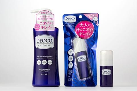 ロート製薬が発売する大人の女性に特化した匂いケアブランド「デオコ」。左から、ボディーソープ「デオコ薬用ボディクレンズ」、制汗剤「デオコ薬用デオドラントシリーズ」ロールオンタイプ、同スティックタイプ