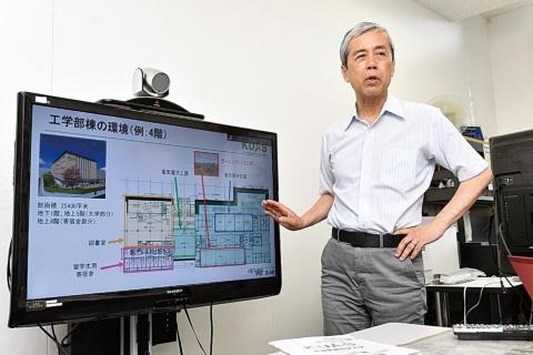 工学部長に就任する京大大学院工学研究科の田畑修教授。工学部棟の特徴は、留学生寮が図書室や研究室と隣り合っている点にあるという