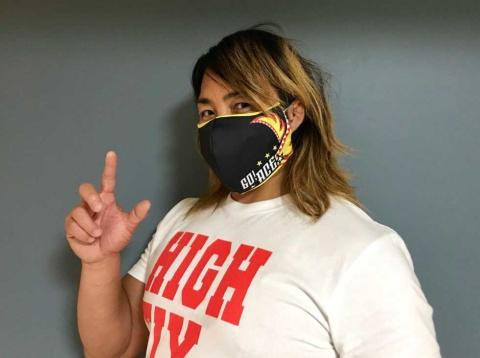 5月にECサイトで限定予約発売した新日本プロレスのマスクカバー。布マスクやサージカルマスクの上から装着する