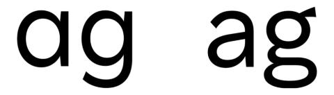 Rakuten Sansの「a」と「g」の書体は、楽天の企業ロゴのデザインに合わせたものと、可読性を重視したものの2パターンを用意した