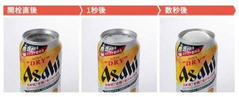 缶を開けると(左)、自然に泡が立ち始め(中)、やがて口いっぱいに(右)。ふたを開けるだけで泡が自然に発生することに驚く
