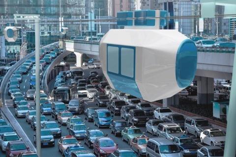 Zip Infrastructureが開発している自走式ロープウエー「Zippar(ジッパー)」のイメージ。都市部の道路の渋滞解消に役立つ新たな交通機関として実装を目指す
