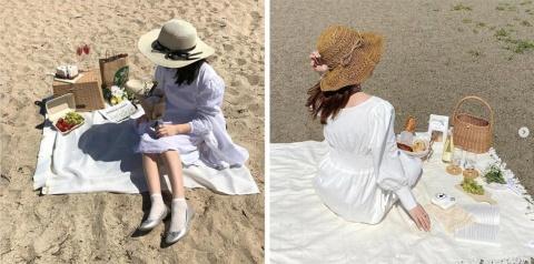 「おしゃピク」「夜ピク」に続く次のトレンドは、海でピクニック。「#海ピク」のハッシュタグが付いた投稿がInstagramにも多数。左写真は「kkr_o8i8」さん、右写真は「i_ammm_14」さんの投稿画像