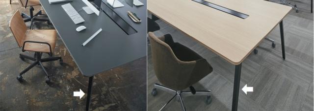 オフィス家具の「LEMNA(レムナ)」シリーズでは、天板に木材を使い、脚部分に独自の「エル ブラック」を採用。オフィスに創造性を求めるニーズに応えている。左は天板に指紋が付かないようにしたモデル。右は木目を活かしたモデルで、実際に富士通の新横浜TECH ビルで利用されている例。今までにない新しいオフィスづくりを実現するために導入された(写真提供:内田洋行)