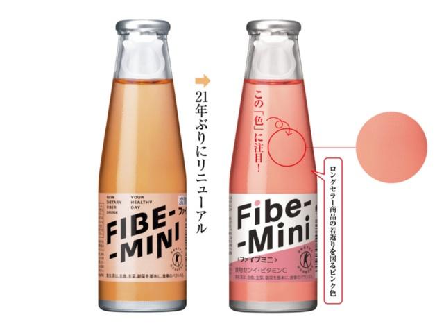 1988年に発売した「ファイブミニ」は、1本(100ml)当たり食物繊維6gを含む特定保健用食品。2017年に21年ぶりとなるリニューアルを実施。パッケージだけでなく、リコピン(トマト色素)によって液色をピンク色に刷新。2018年1月に30周年を迎えたロングセラー商品は、若年層への訴求力を高め、販売数を伸ばした(写真提供:大塚製薬)