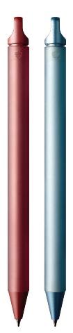 002はクーピーペンシルらしさを強調したデザイン。インキは黒のみ1色だが、ボディーは10色展開。「重色や混色ができるクレパスを開発した色の専門メーカーとして、色の表現にも妥協せず取り組んだ」(広報担当の井上さゆり氏)。価格は1本2200円