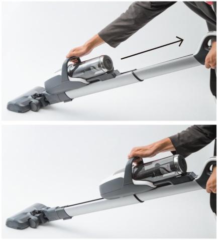 床掃除のときは、本体部分が下にあると軽く感じる。高い所を掃除するときは、本体部分のハンドルを握って引き上げると、本体が上端で自動的にロックされる