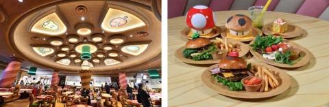 レストランもマリオの世界観。ゲームに登場するアイテムがあちこちにある