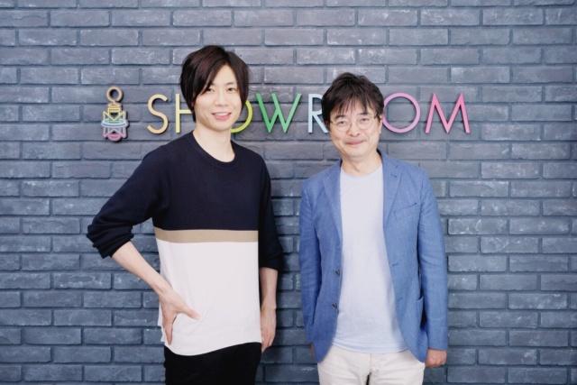 SHOWROOMの前田裕二社長(左)とエステー執行役エグゼクティブ・クリエイティブディレクターの鹿毛康司氏(右)
