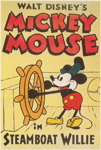 ミッキーマウスの「デビュー作」、映画『蒸気船ウィリー』(1928年)の50周年記念ポスター