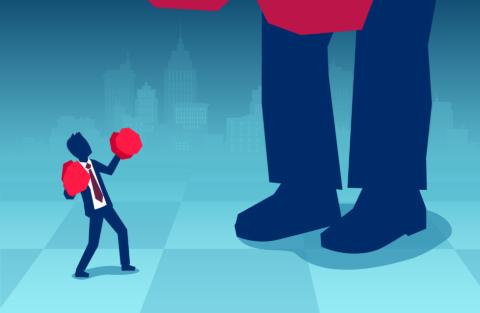 公取委の報告書で、実態として高額の手数料を課し、競争関係の成立を阻害している可能性があると指摘された大銀行に立ち向かう、コード決済事業者のイメージ(写真/Shutterstock)