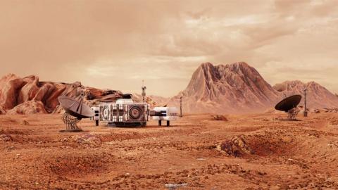 基地を設置して火星を探査するイメージ写真(写真/Shutterstock)