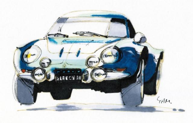 スケッチはアルピーヌ A110。最も美しく力強いまなざしを持った車の一つだと思う
