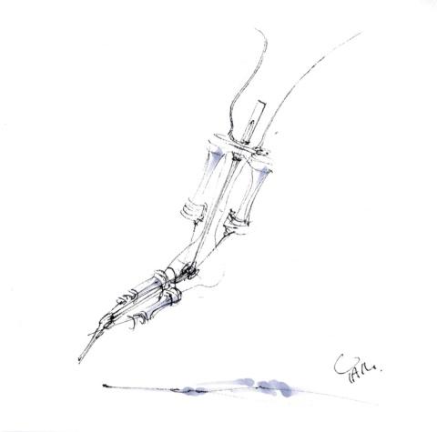 スケッチは「もしかする未来」に展示されたバイオハイブリッドロボット。プラスチックの骨格上で生きた筋細胞を培養して構築される(東京大学生産技術研究所の竹内昌治教授、森本雄矢助教らによる研究成果)