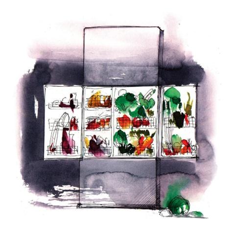 スケッチは、1998年にパナソニックの依頼で野菜室中心の冷蔵庫を提案した時のもの。タイトル(コンセプトワード)は「中央市場」。今でも気に入っている
