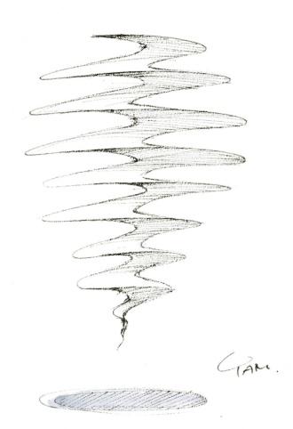 スケッチは大学院生、谷道鼓太朗氏が進める構造触感プロジェクト「Al-Dente」。シンプルならせん構造がプルプルとした不思議な触感をもたらす