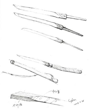 スケッチは刀匠、宮入法廣氏の工房で拝見した「刀子(とうす)」