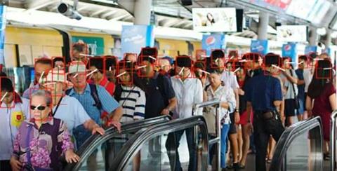 富士通が2月に発表した画像解析AIシステム「GREENAGES Citywide Surveillance V3(グリーンエイジズ シティワイドサーベイランス V3)」を使い、人々の顔の向きを検知する