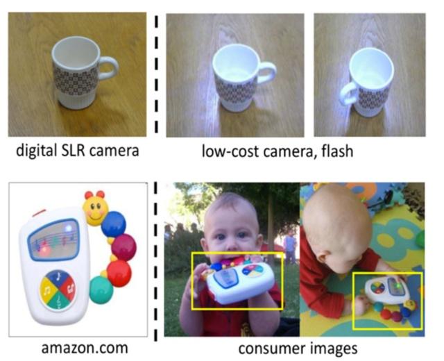図1 ドメインの違いの例。上段はカメラの画質とフラッシュの有無による違い、下段はおもちゃのサンプル写真と実際に子供がそれを使っている様子による違いを表している(出所:https://people.eecs.berkeley.edu/~jhoffman/domainadapt/)