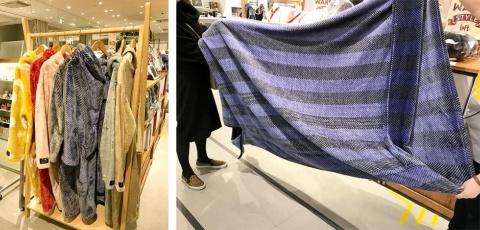 昨シーズン、大ヒットした着丈110センチの「mofua 着る毛布」(税別3350円、写真左)が、今シーズンはさらに進化して「mofua 包まれる毛布」(税別4350円、写真右)に。筒状になっており、いくら寝返りを打ってもずっと包まれていられる
