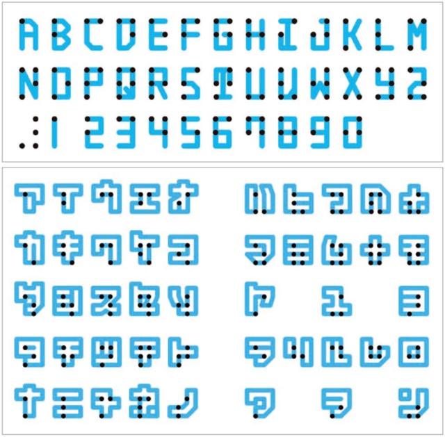 英字フォントは点の直径と文字の太さを同じにすることで、ユニバーサルな印象に仕上げた。日本語フォントでは同じルールでは表現が難しかったため、二重線でカタカナを表現する方式を採用した