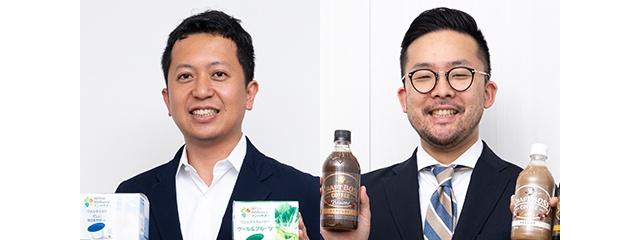 ネスレ日本の津田部長(左)とサントリー食品インターナショナルの大塚課長(右)