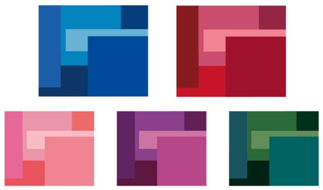 左上から「藍」「紅」「桜」「藤」「松葉」の5色のカラーパレット。大会エンブレムを構成する3種類の四角形に「かさねの色目」に倣ってそれぞれ同系の6色を重ねたグラフィックが東京大会のコアグラフィックス