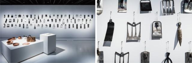 JAPAN HOUSE LONDONでの展示の様子。近藤製作所の鍬は、北のものから南のものへ、地域順に並べられている ©「燕三条 工場の祭典」実行委員会