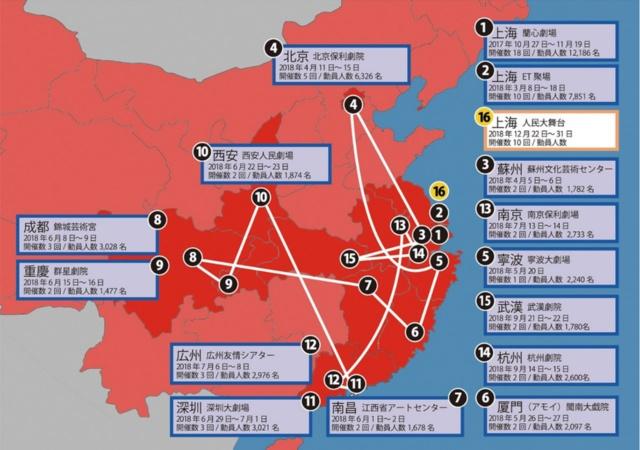 舞台『ナミヤ雑貨店の奇蹟』の上海公演の様子とポスター。演出の劉監督は、中国のベストセラーSF小説『三体』を舞台化したことでも有名。中国14都市、5万人を動員し、今年12月に早速再演が決まった